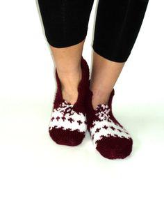 Women Handknitted Wool Burgundy and white Slippers by aykelila