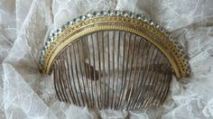 Antique French Empire gilded paste stone diadem hair comb crown