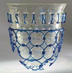 Roman glass cage cup, 4th century A.D. Inscription vivas panelleni bona(m). Heritage Museum Pljevlja, Montenegro