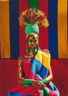Zana explores and engages with identity, time, conflict and diversity as the core themes of her work. South African Flag, African Love, African Colors, African Dress, African Artwork, African Art Paintings, African Tribes, African Diaspora, African American Artist