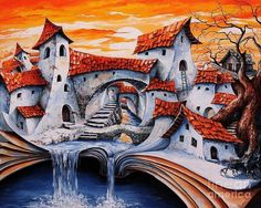 Fairy Tale city - Magic stream Acrylic Print by Emerico Imre Toth. All acrylic prints are professionally printed, packaged, and shipped within 3 - 4 business days and delivered ready-to-hang on your wall. Frida Art, Cross Paintings, Paint By Number, Whimsical Art, Pictures To Paint, Les Oeuvres, Fine Art America, Fairy Tales, Illustration Art