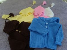 Baby hooded jacket. Handknit all colors 0 to by JaminaRose on Etsy