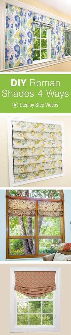 Create custom Roman shades for every room in your home. With 4 great tutorials, you can choose the style that best suits your room.