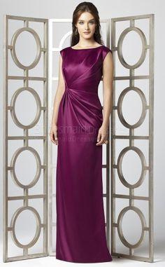 Would be a beautiful recital dress! -Sheath/Column Short Sleeve Scoop Fuchsia Stretch Satin Floor-length Bridesmaid Dresses(UKBD03-713) - BridesmaidDressesBuy.co.uk