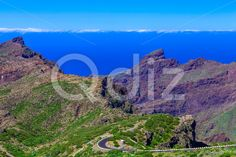 Qdiz Stock Photos Mountains on Tenerife Island in Spain,  #blue #Canary #cloud #day #green #horizon #island #landmark #landscape #mountain #nature #park #road #rock #sky #Spain #spring #summer #Tenerife #Travel #view