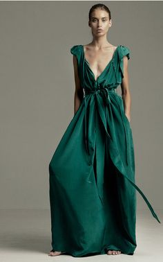 The designer: Versatility, comfort, sophistication—three words often associated with London-based Kalita Al Swaidi and Bali-based Raechel Temily's label (a go-to for everything from bridesmaid dresses to beach wardrobes).  This season it's about: The duo's billowing silks and gauzy cottons in new custom shades—ranging from soft mint and surf blue to deep pomegranate and jade—are proof that glamour can be found in breezy silhouettes.