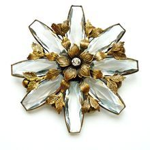 Joseff  of Hollywood Floral Pin with Antique Clear Stones and Leaf Findings – Rare