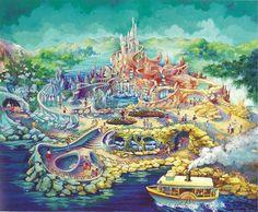 "the-disney-elite: ""Suzanne Braniff Rattigan's concept art for the Mermaid Lagoon at Tokyo DisneySea. Cinderella Wallpaper, Disney Wallpaper, Tokyo Disney Sea, Tokyo Disneyland, Disney Magic Kingdom, Disney Kunst, Disney Art, Walt Disney Imagineering, Mermaid Lagoon"