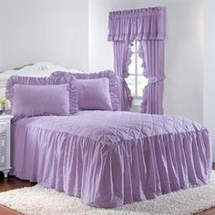 Eyelet Bedspread with Ruffle Bottom & More   New Markdowns   Brylanehome $41