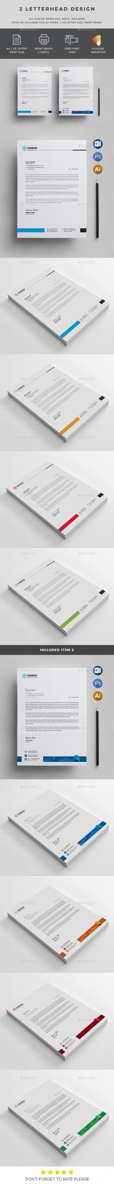 #Letterhead Template - Stationery Print #Templates Download here: https://graphicriver.net/item/letterhead-template/19541957?ref=alena994