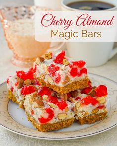 Cherry Almond Magic Bars - a super easy, festive cookie bar treat. Super easy to make and freezer friendly too!
