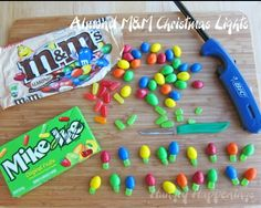 I am so going to try this! Take mike and Ike's and almond M, and use the mike and Ike's as the bottom and the M as the light bulbs.