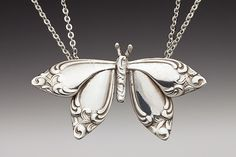 Butterfly necklace made from silver spoons