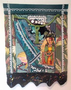 FRIDA Altar Art Studio & Garden Altered Quilt Fabric Collage Assemblage Vintage Bark Cloth Linens Antique Recycled Materials // mybonny