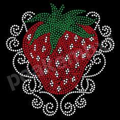 Iron On Strawberry Wholesale Rhinestone Heat Transfers For Apparel