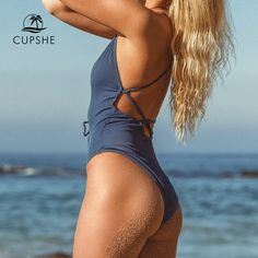 CUPSHE Remind Me Solid One-piece Swimsuit Women Backless Deep V neck Lace Up Sexy Bodysuits 2019 Beach Bathing Suit Swimwear One Piece Swimwear, One Piece Swimsuit, Bikini Swimwear, Sexy Bikini, Swimsuit Material, Swimwear Brands, Bikini Workout, Bikini Models, Bikini Fashion