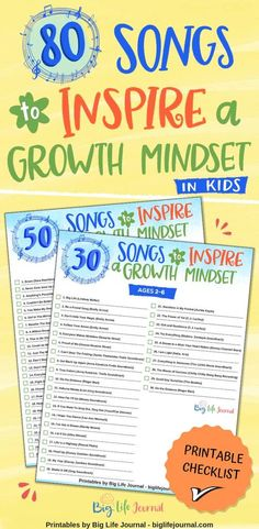 80 Songs that Inspire a Growth Mindset – Big Life Journal Growth Mindset For Kids, Growth Mindset Classroom, Growth Mindset Activities, Growth Mindset Quotes, Social Emotional Learning, Social Skills, Motivational Songs, Inspirational Quotes, Bulletins