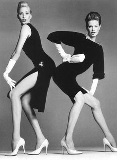 Nadja Auermann and Kristen McMenamy photographed by Richard Avedon for Versace | Spring 1995
