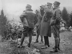Looking though his binoculars is Col. Pepino Garibaldi joined the same Italian Alpine unit founded by his grandfather, vowing along with his four brothers to defeat the Austrians once more. - 1916 - The Italian Front