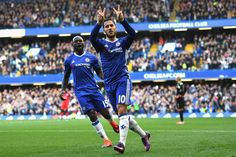 Eden Hazard of Chelsea celebrates scoring his sides second goal during the Premier League match against Leicester City at Stamford Bridge.