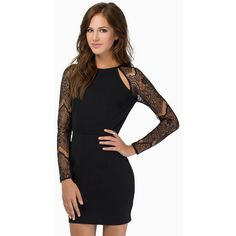 Tobi Hey You Bodycon Dress ($48) ❤ liked on Polyvore featuring dresses, black, black body con dress, black cut out dress, lace cocktail dress, long sleeve lace dress and bodycon dress