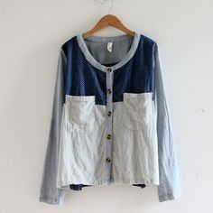 Autum denim cotton and linen fresh literary small forest mosaic shirt long sleeve shirt womens clothing