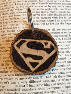Woodburned Superman Keyring by FireWoodCrafts on Etsy, €9.00
