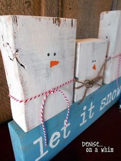 Cute as a button, these snowmen are the perfect winter decor to add to your home. Plus they're made with 2x4 scraps, which is a great way to make use of leftover supplies!