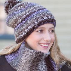 Slouchy Double Knit Hat & Scarf hard to believe it's loom knitted.Such elegance. Great way to learn new stitches..