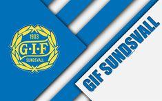 Download wallpapers GIF Sundsvall, 4k, logo, material design, Swedish football club, white blue abstraction, Allsvenskan, Sundsvall, Sweden, football, Sundsvall FC