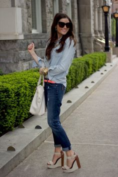 Light jean on dark jean with pop of color belt