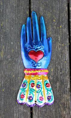 Mexican Folk Art - Tin Ornaments Milagros - BLUE Gloved Hand, Heart Love Token