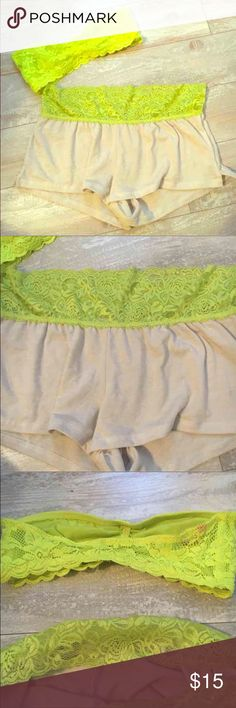 NWOT lace lounge set Bought from wet seal never worn  Lime green & beige  Bandeau top size SMALL  Short shorts size MEDIUM   Flawless & super soft! Intimates & Sleepwear