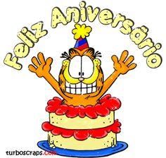 Feliz Aniversário Birthday Greeting Cards, Birthday Greetings, Garfield Birthday, Comic Cat, Birthday Card Pictures, Happy B Day, Cartoon Pics, Happy Birthday Wishes, Lets Celebrate