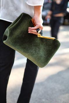 green velvet clutch -- La Dolce Vita: Color Crush: Glorious Green