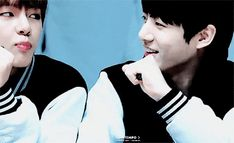 Sometimes when V looks at Jung Kook, he does sth like this... Is this a sign of kiss?