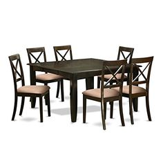 East West Furniture PFBO7-CAP-C 7Piece Dining Room Table Set-Table with Leaf & 6 Kitchen Chairs
