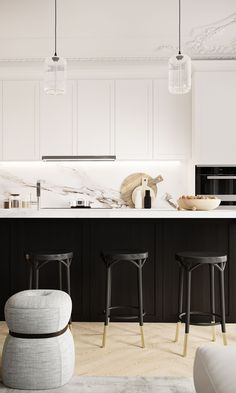 Black and white kitchen but still soft and sophisticated I've been thinking of getting new kitchen for my place from the moment I saw it and finally I am seriously starting to get on it! Photo from Home Decor Kitchen, New Kitchen, Kitchen Interior, Kitchen Dining, Kitchen Ideas, Black Kitchens, Home Kitchens, Kitchen Black, Cocinas Kitchen