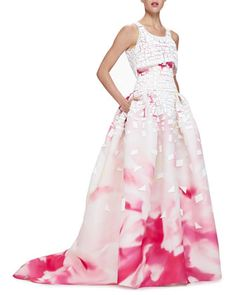 Painted Crop-Top Full-Skirt Gown by Carolina Herrera at Neiman Marcus.