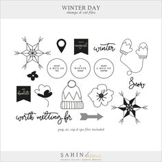 Winter Day Digital Scrapbook Stamps & Cut Files - Sahin Designs
