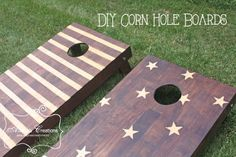 Stars and Stripes Corn Hold Board DIY Tutorial includes instructions for building your own boards and a great stain technique for customizing them.