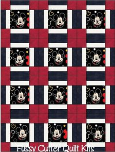 Mickey Mouse Baby Children Kids Red Black Fabric Fast Easy to Make Pre-Cut Quilt Blocks Top Kit Quilting Squares Material for sale