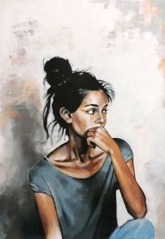 Nice girl looking at her boyfriend and wondering how to dump him 125/90 cm oil on canvas