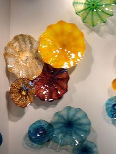 I love these!!!!  blown glass wall art