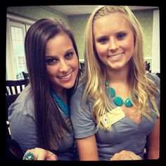 MY GIRLS FROM FSU! Recruitment outfits.  Gray v-neck with turquoise statement necklace. @Alexa Schram @Chelsea Fisher