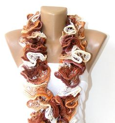 SALE Hand Knit Ruffled Scarf women accessoriesgifts idea by seno, $25.00