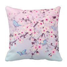 Cherry Blossoms Girly Throw Pillow #girls #cherryblossom #giftsforgirls #mothersday