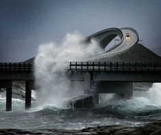 Anti waves bridge in Norway.  * I sure as heck would not drive over that bridge!