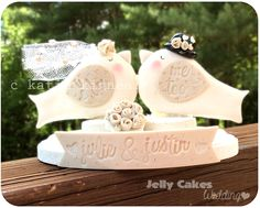 Love-Birds Keepsake Wedding Cake Topper ~handcrafted from polymer clay~ personalized with bride & groom's names and wedding date custom colors to match wedding color scheme