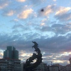 Esta mañana... en la Plaza de España en Vigo #Amanecer #Sunrise